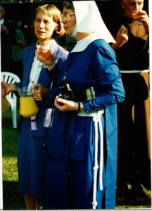 Queen Mother's visit in July 1994. Left to Right: Rene Dicker, Sr Margaret Angela, Brother Bernard