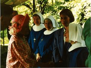HRH The Queen Mother's visit to RFSK in 1994. Left to Right: Sister teresa, Sr Monica, Rene Dicker, Sr Iona